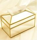 水晶紙巾盒抽紙捲紙筒兩用家用客廳辦公室桌面抽紙盒 歐式輕奢玻璃 「時尚彩紅屋」