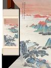 山水畫字畫裝飾捲軸掛畫張大千荷花畫裝飾掛...