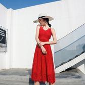 洋裝海邊度假女神紅色蕾絲連身裙修身大裙擺露背中長款吊帶裙9022#GT2F-237依佳衣