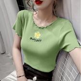 冰絲上衣 刺繡小雛菊T恤女短袖2020夏季新款韓版修身短款冰絲針織衫上衣潮