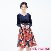 RED HOUSE-蕾赫斯-絨布花朵洋裝(共2色)