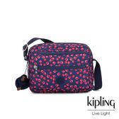 Kipling 古典茜紅小花拉鍊側背包-DEENA
