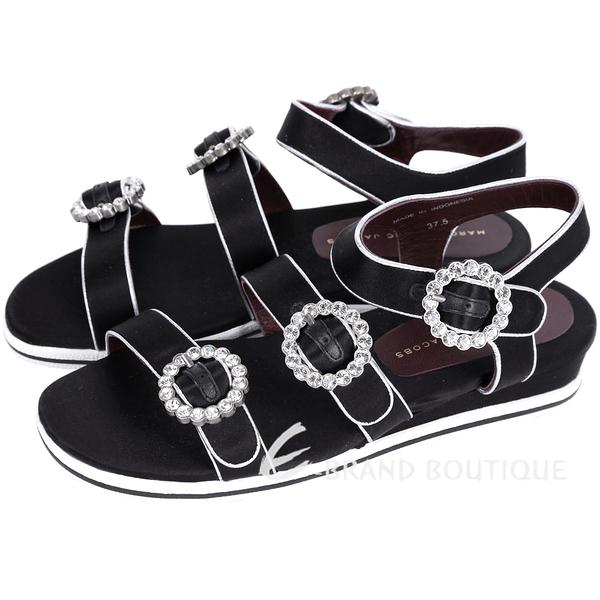 MBMJ Charlotte Strass Buckle 水鑽釦帶緞面涼鞋(黑色) 1610286-01
