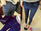 牛仔褲AB褲*艾爾莎*超彈力顯瘦款深藍色...