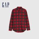 Gap男裝 新年紅法蘭絨長袖襯衫 656557-紅色格紋