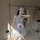 運動套裝女夏季ins新款寬鬆小個子吊帶背心bf休閒高腰短褲兩件套