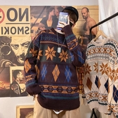 毛衣民族風男士毛衣韓版潮流個性針織衫寬松慵懶風港風毛線衣【快速出貨】