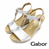德國GABOR 繞踝楔型涼鞋 銀白玫瑰金 62.828.10 女鞋