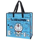小禮堂 哆啦A夢 方形防水購物袋 環保購物袋 衣物收納袋 側背袋 (深藍 文字) 4930972-50231