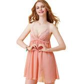 思薇爾-啵時尚系列蕾絲性感連身小夜衣(香檳粉)