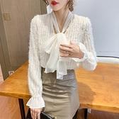 長袖襯衫韓版S-2XL9663#春季新款女裝蝴蝶結系帶喇叭袖流蘇雪紡襯衫女上衣T614依佳衣