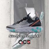【四折特賣】Nike 休閒鞋 React Element 87 黑 藍 男鞋 緩震回彈 透明鞋面設計 【ACS】 AQ1090-005