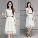 短袖洋裝 韓版大碼女裝短袖蕾絲連身裙大擺...
