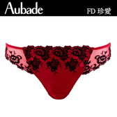 Aubade-珍愛緞面L-XL立體蕾絲三角褲(紅)FD