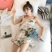 睡衣女套裝吊帶兩件套性感冰絲家居服女韓版清新學生仿真絲綢『夢娜麗莎精品館』