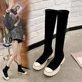 長靴 不過膝秋冬新款顯瘦厚底彈力靴加絨網紅高筒瘦瘦靴短靴