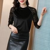 長袖T恤打底衫女士上衣黑色金絲絨上衣女裝秋季新款洋氣蕾絲拼接長袖高端內搭打底衫NB41A快時尚
