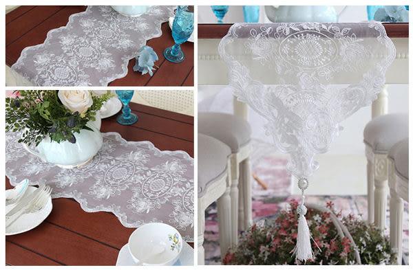 時尚蕾絲桌布8  鏤空茶几布書桌布隔熱餐墊 蕾絲水晶桌旗 (30*280cm)