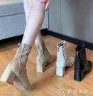 馬丁靴馬丁靴女英倫風新款春秋季單靴方頭粗跟瘦瘦高跟鞋短靴子 快速出貨