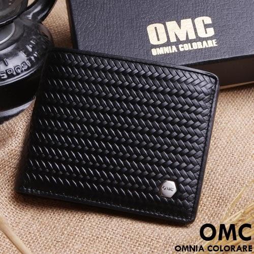 OMC - 六角編織系真皮款6卡2照左右翻短夾