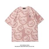 短袖 國潮ins原宿風趣味小熊滿印短袖T恤男潮牌街頭嘻哈寬鬆BF半袖上衣
