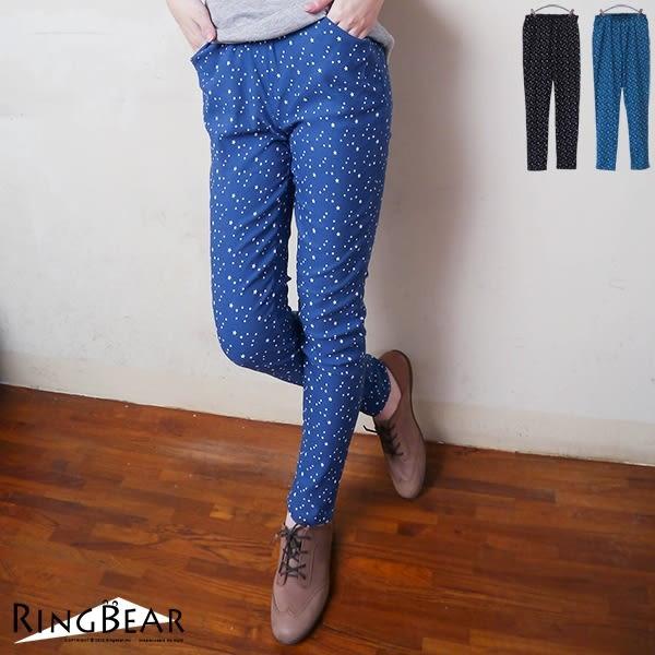 長褲--個性活力滿版星星修身雙口袋鬆緊褲頭牛仔長褲(黑.藍XL-5L)-P114眼圈熊中大尺碼★