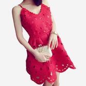 前後V領蕾絲鏤空造型可調式細肩帶洋裝  [黑 紅] 兩色售