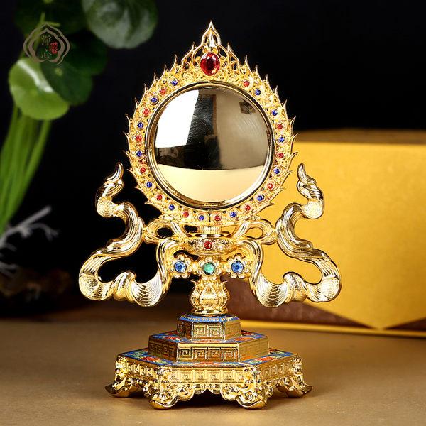 彩繪準提鏡 藏傳佛教法器 擺件 供佛用品