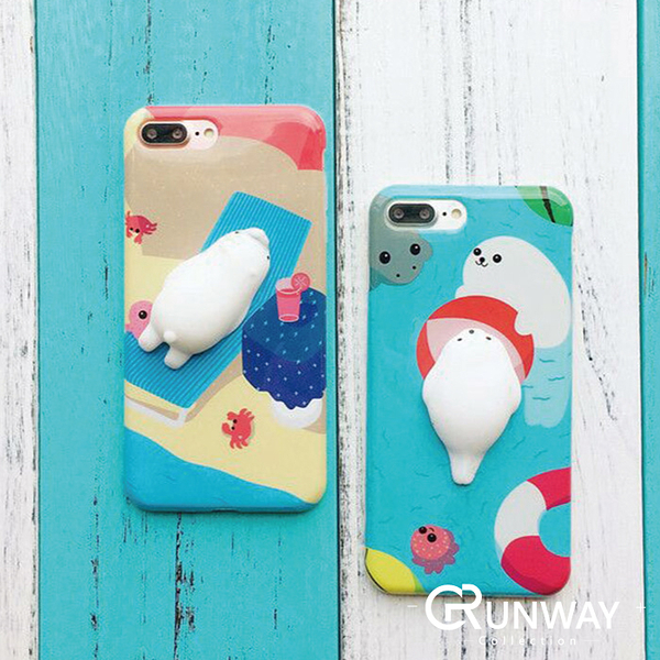 【R】軟趴趴 可捏 紓壓 愛不釋手軟綿綿 小海豹海洋夏日時光 iPhone 8 7 plus 手機殼 軟殼