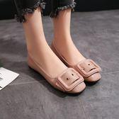 現貨出清  紅色淺口平底單鞋孕婦鞋低跟低筒皮帶扣工作鞋2018年夏季新款女鞋