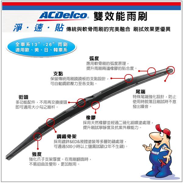 【愛車族購物網】ACDelco 雙效能竹節雨刷-24吋