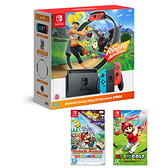 Nintendo Switch健身環+主機組合+2片遊戲片【愛買】