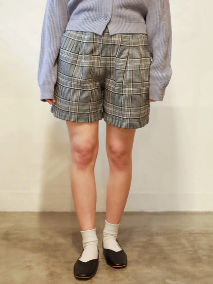 「Spring」 鬆緊腰格倫格紋短褲 - E hyphen world gallery