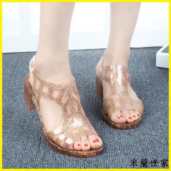 現貨 夏季復古水晶閃片果凍鞋露趾粗跟涼鞋