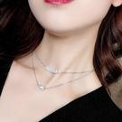項鍊 雙層 珍珠 拼接 鎖骨鏈 個性 簡約 短款 項鍊【DD1806003】 icoca  10/04