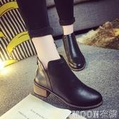 马丁靴女 短款低幫馬丁靴短靴女春潮韓版復古英倫風學生粗跟顯瘦百搭小皮靴 快速出货
