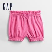 Gap嬰兒 俏皮荷葉邊鬆緊短褲 834863-粉紅色