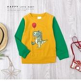 純棉 鱷魚氣球塗鴉趣味拼接袖上衣 長袖 芥末黃 綠色 薄款 俏皮 卡通 男童裝 秋冬長袖