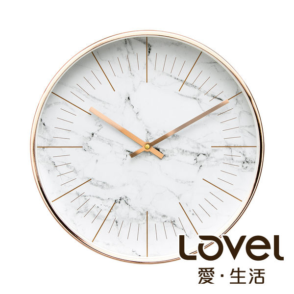 Lovel 30cm典雅玫瑰金框靜音時鐘 - 共6款
