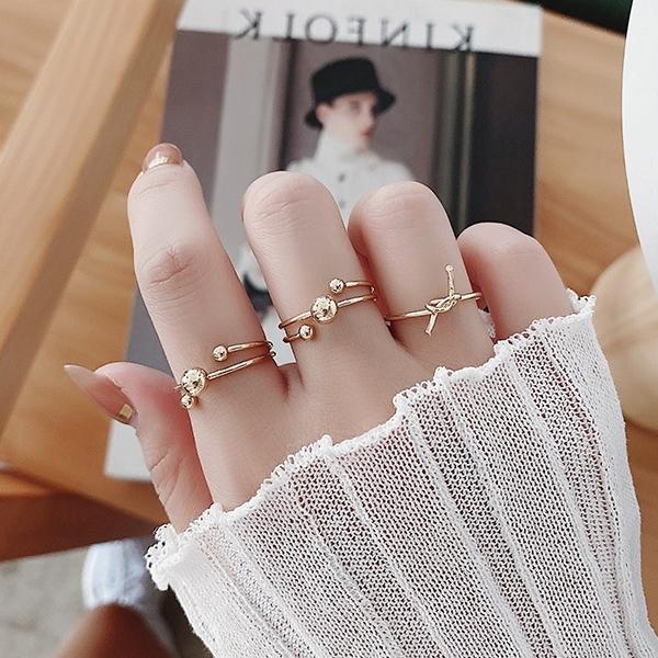 戒指.韓版個性百搭金色幾何圓珠三件組.白鳥麗子