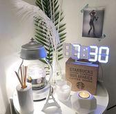 ins韓風3D夜光LED數字鐘家居軟裝百搭掛鐘墻鐘創意個性溫度鬧鐘 玩趣3C