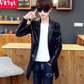 青年個性中長款風衣男士韓版pu皮大衣機車披風帥氣男裝加厚外套冬