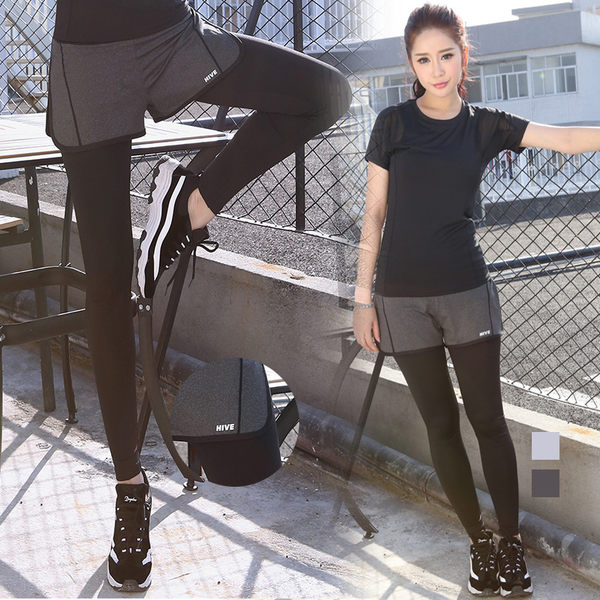 &小咪的店& 新爆款假兩件瑜伽褲健身跑步緊身運動褲韓國韓版瑜伽女褲+KB90