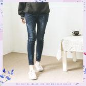 長褲    腰鬆緊抽繩有彈性牛仔長褲   單色-小C館日系
