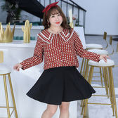 ★韓美姬★中大尺碼~氣質花邊領口長袖襯衫上衣(XL~4XL)