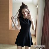夏裝新款A字打底裙修身顯瘦短裙背心裙赫本小黑裙無袖洋裝