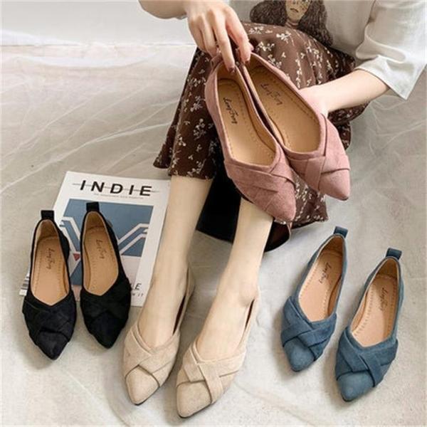 春季尖頭淺口單鞋女韓版平底豆豆鞋子 黑色/米色/粉色/藍色