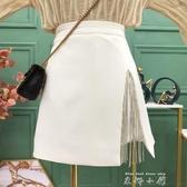 水鉆鏈條流蘇開叉半身裙短裙2020早秋新款設計感高腰百搭A字裙褲