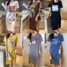 洋裝 短袖洋裝 棉洋裝 休閒開叉裙 印花短袖寬松連身裙潮集合款N502依佳衣