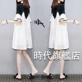 (一件免運)大尺碼雪紡麻紗中袖寬鬆上衣胖mm大尺碼t恤中長版女顯瘦打底休閒小衫